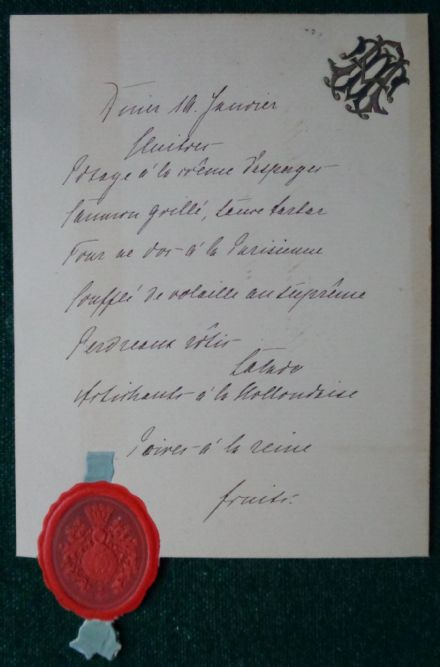 Antique Menu Villa Wenden for Grand Duchess Anastasia Romanov of Russia Duchess Mecklenburg-Schwerin